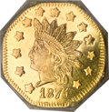 California Fractional Gold, 1874 G$1 Indian Octagonal Dollar, BG-1124, High R.4, MS65 DeepProoflike, NGC....