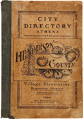 Books:First Editions, [Athens, Texas]. Directory Athens City, Texas, County Site ofHenderson County 1904. Athens, Texas, n.d. First editi...