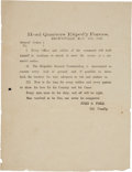 """Autographs:Military Figures, Battle of Palmito Ranch: John S. """"Rip"""" Ford Printed Broadside withAccompanying..."""