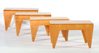 MARCEL BREUER FOR ISOKON Four Bent Plywood Tables, circa 1936 Marks: one bearing brand, Made in Estonia<