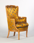 Furniture : French, ANDRE GROULT. A Silk-Upholstered Beechwood Armchair, circa 1911.Marks: bearing heat stamped signature and the three roses m...