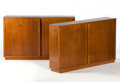 Furniture : French, ANDRE SORNAY. A Pair of Oak and Brass Bibliothèques, circa 1930.Marks: bearing brand. 44 x 70 x 14 inches (111.8 x 177.8 x ...(Total: 2 Items)
