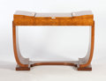 Furniture : French, JULES LELEU. A Palissandre, Amboyne, and Padouk Coiffeuse, circa1930. 30 x 41 x 20 inches (76.2 x 104.1 x 50.8 cm). ...
