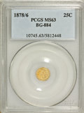 California Fractional Gold: , 1878/6 25C Indian Round 25 Cents, BG-884, High R.5, MS63 PCGS. PCGSPopulation (9/12). NGC Census: (1/0). (#10745)...