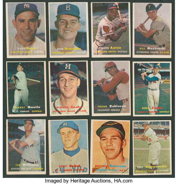1957 Topps Baseball Near Set 393407 Plus Checklists And Lot