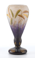 "Art Glass:Daum, DAUM. An Enameled and Gilt-Decorated Glass ""Wheat"" Vase, circa1890s. Marks: gilt Daum Nancy with the Cross of Lorraine..."