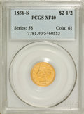 Liberty Quarter Eagles: , 1856-S $2 1/2 XF40 PCGS. PCGS Population (7/82). NGC Census:(7/163). Mintage: 72,100. Numismedia Wsl. Price for problem fr...