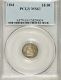 Seated Half Dimes: , 1861 H10C MS63 PCGS. PCGS Population (74/157). NGC Census:(102/214). Mintage: 3,361,000. Numismedia Wsl. Price for problem...