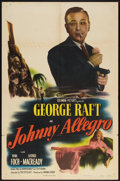 "Movie Posters:Crime, Johnny Allegro (Columbia, 1949). One Sheet (27"" X 41""). Crime.. ..."