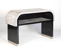 Furniture : French, A FRENCH BLACK-LACQUERED AND LIGHT AUBERGINE-TINTED COQUILLE D'OEUFCONSOLE. Circa 1930. 34 x 54 x 18 inches (86.4 x 137.2 x...