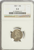 Bust Dimes: , 1827 10C Good 4 NGC. NGC Census: (1/241). PCGS Population (3/279).Mintage: 1,300,000. Numismedia Wsl. Price for problem fr...