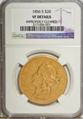 Liberty Double Eagles: , 1856-S $20 --Improperly Cleaned--NGC. VF Details. NGC Census:(1/816). PCGS Population (1/404). Mintage: 1,189,750. Numismed...