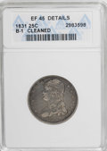 Bust Quarters: , 1831 25C Small Letters--Cleaned--ANACS. XF45 Details. B-1. NGC Census: (23/332). PCGS Population (24/268). Mintage: 398,000...