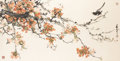 Asian:Chinese, Kan Wing-Lin. . Scroll of Flowering Tree Branch, .Watercolor on paper. 68-1/4 x 32-1/4 inches (173.4 x 81.9 cm). ...(Total: 3 Items)