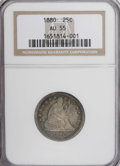 Seated Quarters: , 1880 25C AU55 NGC. NGC Census: (6/97). PCGS Population (0/165).Mintage: 13,600. Numismedia Wsl. Price for NGC/PCGS coin in...