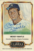 "Autographs:Others, Mickey Mantle Signed Career Stats Card. Artistic representation ofthe Mick is presented here on the 4x6"" card offered here..."