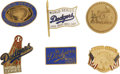 Baseball Collectibles:Pins, 1965-81 Los Angeles Dodgers Press Pins Lot of 6. Brilliantcollection of six press pins from the Los Angeles Dodgers, all ...