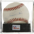 Autographs:Baseballs, Mario Andretti Single Signed Baseball, PSA NM-MT 8. The motorsportsicon here offers a NM-MT example of his single signed ba...