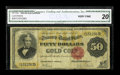 Large Size:Gold Certificates, Fr. 1193 $50 1882 Gold Certificate CGA Very Fine 20....