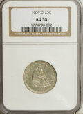 Seated Quarters, 1859-O 25C AU58 NGC....