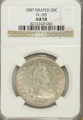 Early Half Dollars, 1807 50C Draped Bust AU58 NGC. O-105. NGC Census: (71/70). PCGSPopulation (59/62). Mintage: 301,076. Numismedia Wsl. Price...