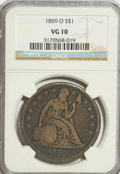 Seated Dollars: , 1859-O $1 VG10 NGC. NGC Census: (3/413). PCGS Population (2/648).Mintage: 360,000. Numismedia Wsl. Price for problem free ...