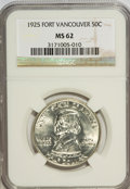 Commemorative Silver: , 1925 50C Vancouver MS62 NGC. NGC Census: (85/1898). PCGS Population(198/2591). Mintage: 14,994. Numismedia Wsl. Price for ...