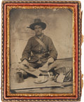 Military & Patriotic:Civil War, Great Quarter Plate Civil War Tintype of a Federal Infantryman, Possibly 44th Massachusetts, with his Equipment Displayed. ...