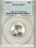 Washington Quarters, 1938-S 25C MS67 PCGS....