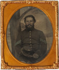 Military & Patriotic:Civil War, Nicely ID'd Sixth Plate Tintype Portrait of Corporal Lewis P. Bradford, Co. D, 23rd Maine Inf....