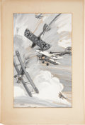 "Military & Patriotic:WWI, World War I: Aerial Dog Fight Painting by Clayton Knight Inscribedto Floyd Gibbons, ""Untitled"",..."