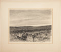 Military & Patriotic:WWI, World War I Soldiers on the March, Etching by Kerr Eby....