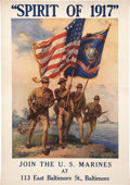 "Military & Patriotic:WWI, Marine Corps ""Spirit of 1917"" Recruiting Poster...."