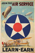 "Military & Patriotic:WWI, WWI Air Service Recruiting Poster ""Join the Air ServiceLearn-Earn""...."