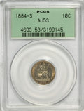 Seated Dimes: , 1884-S 10C AU53 PCGS. PCGS Population (4/46). NGC Census: (1/45).Mintage: 564,969. Numismedia Wsl. Price for problem free ...