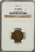 1874 1C VF20 NGC. NGC Census: (0/0). PCGS Population (0/233). Mintage: 14,187,500. Numismedia Wsl. Price for problem fre...