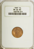 Indian Cents: , 1907 1C MS64 Red NGC. NGC Census: (183/106). PCGS Population(399/222). Mintage: 108,138,616. Numismedia Wsl. Price for pro...