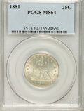 Seated Quarters: , 1881 25C MS64 PCGS. PCGS Population (34/36). NGC Census: (24/43).Mintage: 12,000. Numismedia Wsl. Price for problem free N...