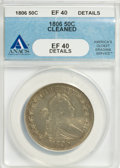 Early Half Dollars: , 1806 50C Pointed 6, Stem--Cleaned--ANACS. XF40 Details. NGC Census:(95/641). PCGS Population (77/300). Mintage: 839,576. N...