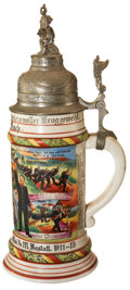 Military & Patriotic:WWI, Imperial German Regimental Stein, [Baden] 8 Comp. Inft. Rgt. MarkgLudw. Wilh. 3. Bad. Nr. 111 Rastatt. 1911-13....