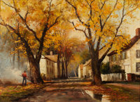 ROBERT WILLIAM WOOD (American, 1889-1979) Autumn Street Scene, 1953 Oil on canvas 29-1/2 x 39-1/2