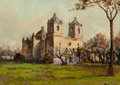 Texas, ROLLA SIMS TAYLOR (American, 1872-1970). Mission Concepcion.Oil on artist's board. 10 x 14 inches (25.4 x 35.6 cm). Sig...