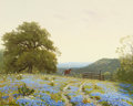 Paintings, PORFIRIO SALINAS (American, 1910-1973). Bluebonnet Hillside Landscape. Oil on canvas. 16 x 20 inches (40.6 x 50.8 cm). S...