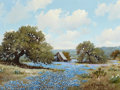 Texas, WILLIAM A. SLAUGHTER (American, 1923-2003). Texas in Blue,1973. Oil on canvas. 18 x 24 inches (45.7 x 61.0 cm). Signed ...