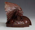 Sculpture, ALEXANDER PHIMISTER PROCTOR (American, 1862-1950). Indian Chief, 1917. Bronze. 11 x 13 x 13 inches (27.9 x 33.0 x 33.0 c...