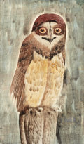 Works on Paper, PERRY NICHOLS (American, 1911-1992). The Owl, 1964. Gouache with etching on paper laid on board. 11 x 7 inches (27.9 x 1...
