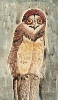 PERRY NICHOLS (American, 1911-1992) The Owl, 1964 Gouache with etching on paper laid on board 11