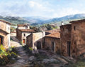 Texas, JOSÉ VIVES-ATSARA (Spanish/American, 1919-2004). Casas yCorrales (Catalonia, Spain), 1980. Oil on canvas. 24 x 30inche...
