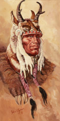 Western:20th Century, PROPERTY FROM THE DUFFY AND TINA OYSTER FOUNDATION. JOHN FORD CLYMER (American, 1907-1989). Horned Chief. Oil on canva...