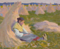 Paintings, PROPERTY FROM THE DUFFY AND TINA OYSTER FOUNDATION. EANGER IRVING COUSE (American, 1866-1936). Peasant Girl Seated on Sh...